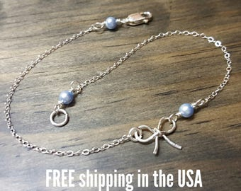 Sterling silver anklet bow FREE SHIPPING swarovski pearl ankle bracelet beach