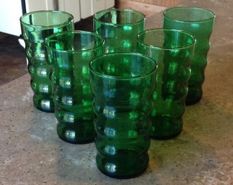 Vintage Anchor Hocking Ripple Forest Green Glass Ribbed Tumbler Set of 6