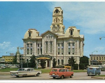 Court House Weatherford Texas 1960s postcard