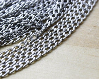 MOVING SALE 2 Feet ft Stainless Steel Curb Chain / Twist Chain / Sleek Flat Link / Open Link (2 Feet ) 2x4mm [CHN14076]