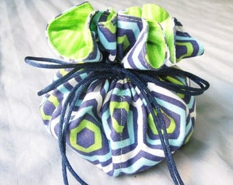 Jewelry Travel Pouch, Travel Organizer, Drawstring Bag, Gift for Her, Jewelry Organizer, Makeup Bag, Lime Green, Dark Blue Geometrical