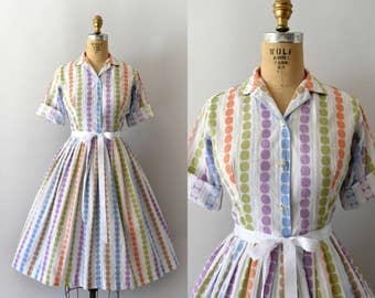 1950s Vintage Dress - 50s Colorful Cotton Polkadot Shirtwaist Dress
