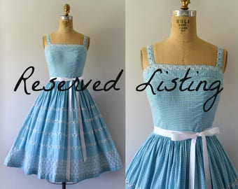 RESERVED LISTING -- 1950s Vintage Dress - 50s Embroidered Teal Gingham Sundress
