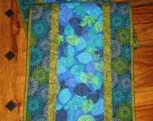 "Blue Green Hawaiian Summer Table Runner, Quilted, 13 x 47"" 100% cotton fabrics, Reversible"