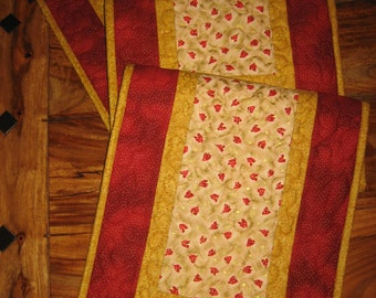 "Christmas Table Runner, Red Trees on Cream, Quilted Table Runner, Reversible Fall 13 x 58"" Handmade Free Shipping"