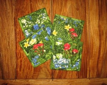 """Fabric Coasters, Wildflowers Blue Yellow Red, Reversible Drink Coasters, Quilted Coasters, Gifts under 20, 5x5"""", Hostess Gift"""