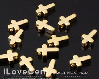 NP-1410 Matt Gold plated, Cross, Pendant, S-size, 4pcs