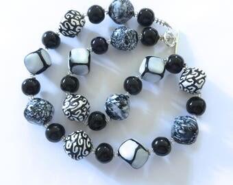 Kazuri Bead Necklace, Fair Trade Beads, Black White Ceramic Necklace, Statement Necklace