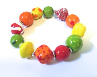Beaded Bracelet, Kazuri Bangle, Fair Trade, Ceramic Jewellery, Red Orange Green and Yellow Bangle