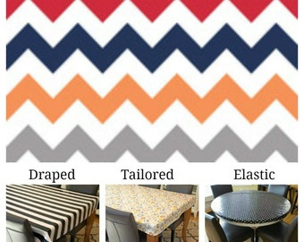 Laminated cotton aka oilcloth tablecloth custom size and fit choose elastic, tailored, or draped, red navy orange gray and white chevron