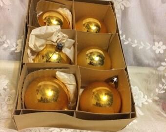 6 Gold Fantasia Brand Ornaments