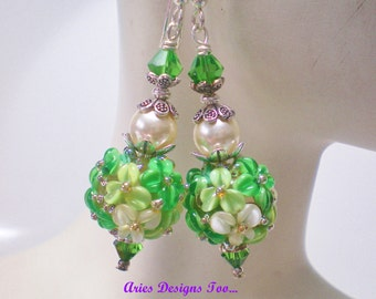 Emerald Isle, Floral Lampwork Earrings in Shades of Green & Ivory, St.Patty's Day Floral Earrings