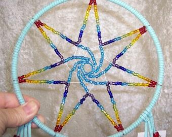 FAERIE STAR - 7 Inch Chakra Dreamcatcher in Aqua by FeatheredDreams1