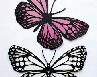 Monarch butterflies paper cut set of 3
