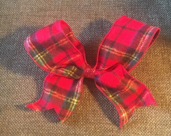 Oversized red plaid bow