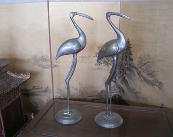 Antique Pair of Brass Cranes