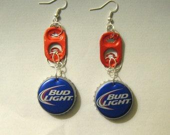 Recycled Can Tab Bottle Cap Earrings Bud Light Beer