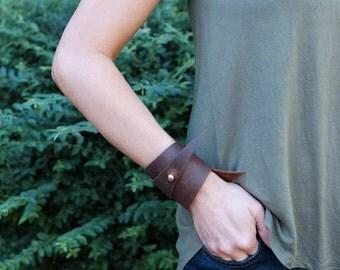 Leather Angle Cuff Bracelet - Leather Bracelet - by ClaireMagnolia