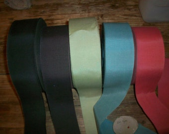 3 yds. of 2 inch petersham ribbon in colors vintage cotton and rayon