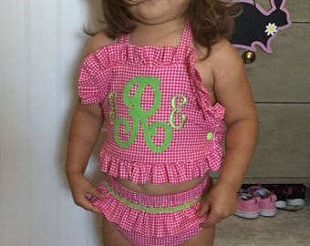 Baby girls two piece ruffled swimsuit