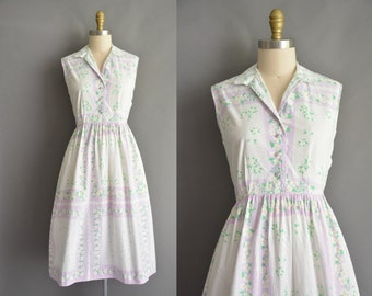 vintage 1950s dress / 50s white cotton pastel floral vintage dress