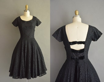 vintage black cotton lace 1950s low back vintage party dress. 50s dress /  vintage 1950s dress