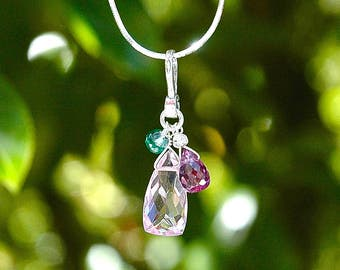 NEW Pink Quartz Pyramid Necklace / Sterling Silver / Iolite Gemstone / Purple Teardrop / Green / Multi Color Pendant / Mothers Day / OOAK