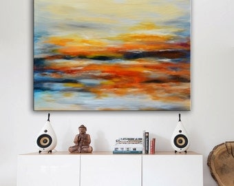 Original abstract Painting on Canvas, Red Yellow blue, Original Art modern, Original painting, abstract landscape sunset, large abstract art