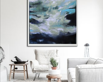 Grey abstract giclée Print of painting, blue and gray painting, modern painting, huge wall art, large print, canvas print, gray print canvas