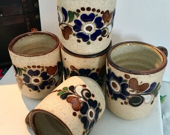 Set of 5 Mexican Tonala Mugs // Vintage Mugs