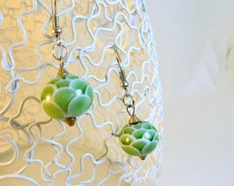 Olive Green Glass Beaded Earrings, Handmade Lampwork Beads