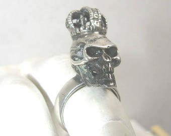 Sterling Silver Skull Ring with Imperial Crown Mens Rock n Roll Gothic Biker Skull Ring Heavy Weight 925 Silver Jewelry Ring Size 11