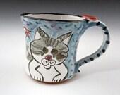 Reserved for Nancy - Ceramic Coffee Mug - Tabby Cat Grey Gray and White - 16 ounces - Pottery Cup Clay Mug - Majolica Mug - Blue