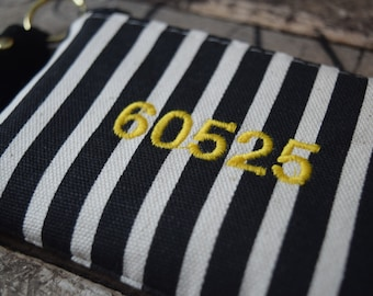 Chic Zip Code Coin bags with Leather Tassel, Black Striped Coin Purse, Coin Purse, Coin Bag, Bridesmaids Gift, Coin Wallet, Teachers Gift