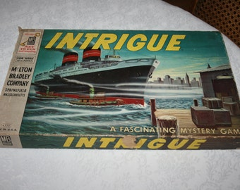 RARE Vintage 1955 Intrigue Board Game Milton Bradley Mystery Game Made in USA