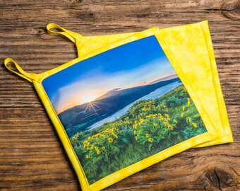 Sunrise over Columbia River Photo Pot Holder, Hot Pad, Handmade