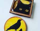 Black cat, kitten, brooch, wood, circle, yellow and black, framed, wooden, choose style, by NewellsJewels on etsy