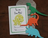 Dinosaur (3 shapes to choose from) Valentines- SET OF 8 - includes color printed card, seed paper, glassine envelope-16 seed paper colors