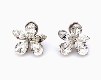 christmas prom bridal wedding bridesmaid gift Swarovski clear fancy multi shape flower crystal rhinestone rhodium silver stud post earrings