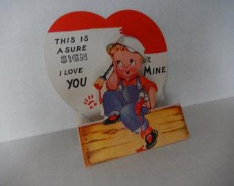 Vintage Valentine Card 1950s Greeting Painter Paper Ephemera