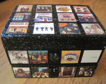 The Beatles US Album Covers Hand Crafted Decoupaged Wooden Jewelry Keepsake Box