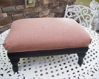 SALE -Antique Primitive Colonial Red Check Americana Upholstered Foot Stool, Early Americana Foot Stool, Farmhouse Country Red Check Stool