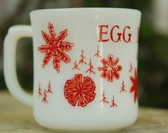Vintage 60s Egg Nog Milkglass Cup Retro Mid Century