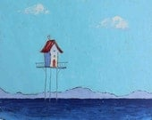 Tiny Beach House - small original oil painting on canvas panel