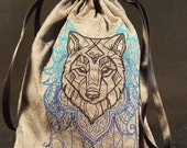 Mystic Wolf Embroidered Tarot Bag/Pouch