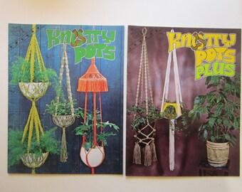 2 vintage books - macrame books KNOTTY POTS  and Knotty Pots Plus - circa 1970s