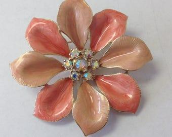 Vintage Coral Enameled Brooch with Aurorea Borealis Rhinestone Center