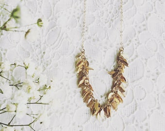 Leaf fringe necklace- gold leaves necklace  - statement necklace