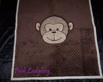 Large Crib Size Reversible Quilt - Monkey Applique with Floppy Ears on Brown Minky and Ivory Back - Ready to Ship