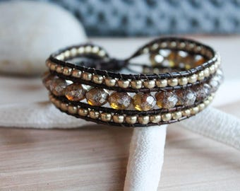 Picasso Czech and Gold Beaded Wrap Bracelet, 3 Row Cuff, Country Boho, Boho Chic, Leather Jewelry, Button Bracelet, Wrap Bracelet
